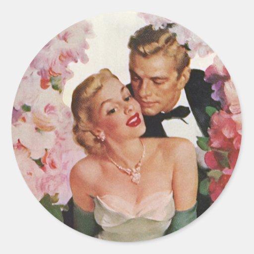 Vintage Wedding Bride Groom Newlyweds Flowers Round Sticker