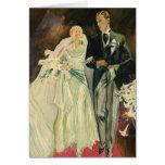 Vintage Wedding Bride Groom Newlyweds Just Married Greeting Cards