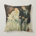 Vintage Wedding Bride Groom Newlyweds Just Married Throw Pillow