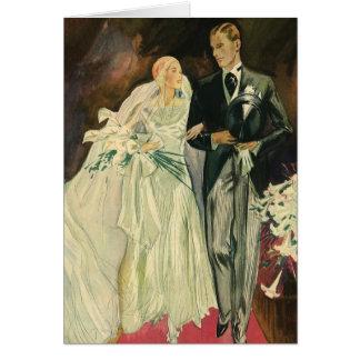 Vintage Wedding Bride Groom Newlyweds Just Married Greeting Card