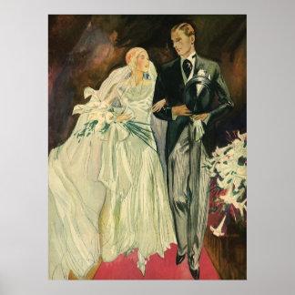 Vintage Wedding Bride Groom Newlyweds Just Married Print