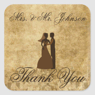 Vintage wedding Bride Groom Thank you Square Sticker