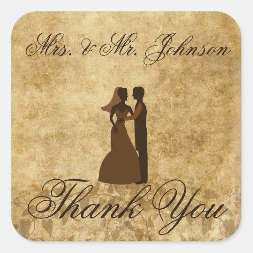 Vintage wedding Bride Groom Thank you Stickers