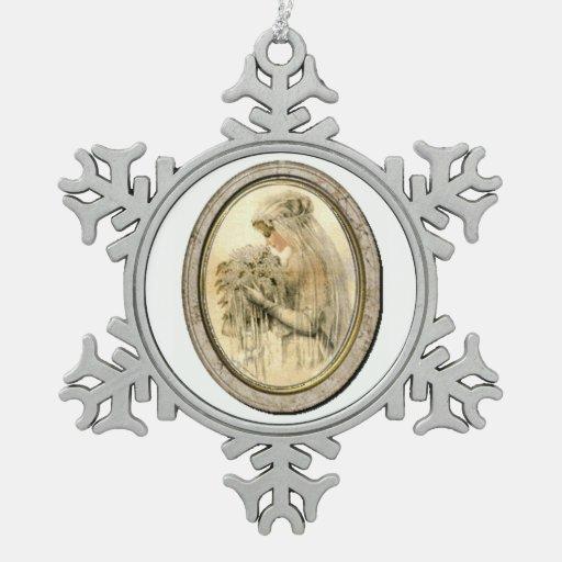 Vintage wedding bride victorian christmas ornament zazzle