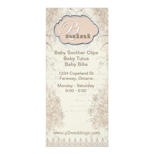 Vintage Wedding Business Information Card Customized Rack Card