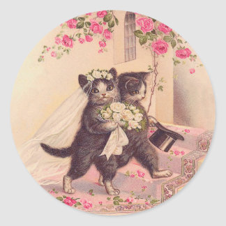 Vintage Wedding Cats Bride and Groom Classic Round Sticker
