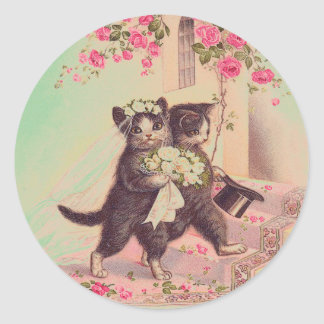 Vintage Wedding Cats Bride and Groom Round Sticker