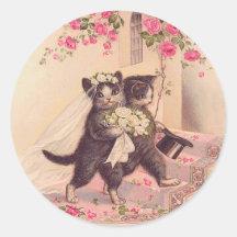 Vintage Wedding Cats Bride and Groom Round Sticker