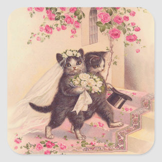 Vintage Wedding Cats Bride and Groom Square Stickers
