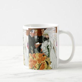 Vintage Wedding Ceremony, Bride Groom Newlyweds Basic White Mug