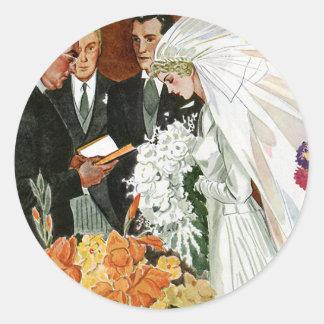Vintage Wedding Ceremony, Bride Groom Newlyweds Classic Round Sticker