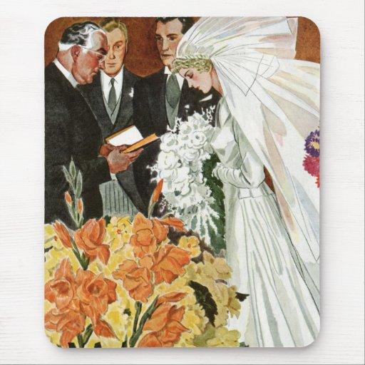 Vintage Wedding Ceremony, Bride Groom Newlyweds Mousepads