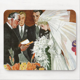 Vintage Wedding Ceremony, Bride Groom Newlyweds Mouse Pad