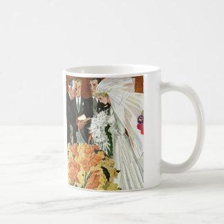 Vintage Wedding Ceremony Bride Groom Newlyweds Coffee Mug