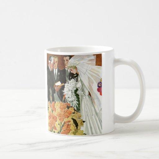 Vintage Wedding Ceremony, Bride Groom Newlyweds Coffee Mug