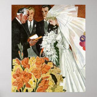 Vintage Wedding Ceremony Bride Groom Newlyweds Print