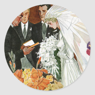 Vintage Wedding Ceremony, Bride Groom Newlyweds Round Sticker