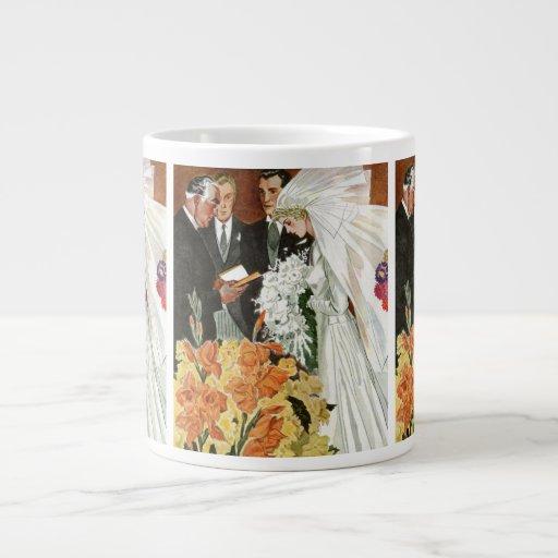Vintage Wedding Ceremony, Bride Groom Newlyweds Jumbo Mugs