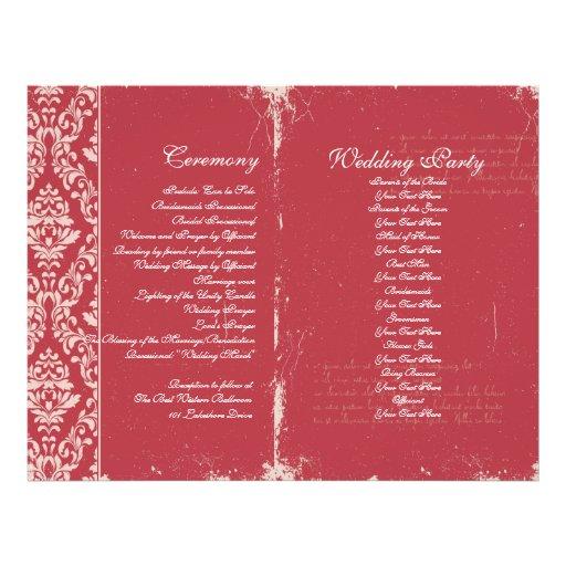 Vintage Wedding Ceremony Program Custom Flyer