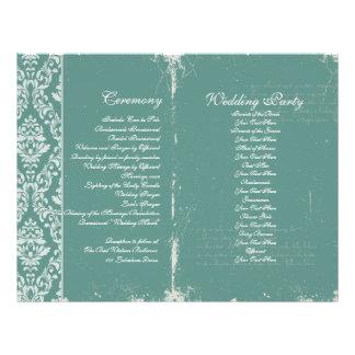 Vintage Wedding Ceremony Program Teal 21.5 Cm X 28 Cm Flyer