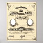 Vintage Wedding Certificate Poster