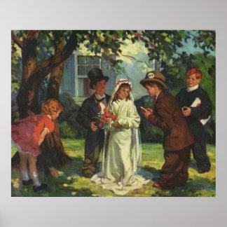Vintage Wedding Child Bride Groom Pretend Ceremony Poster