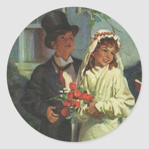 Vintage Wedding Child Bride Groom Pretend Ceremony Sticker