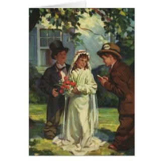 Vintage Wedding, Children as Bride and Groom Greeting Card
