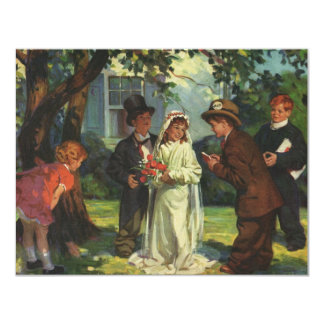 Vintage Wedding, Children as Bride and Groom 4.25x5.5 Paper Invitation Card