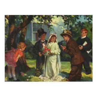 Vintage Wedding, Children as Bride and Groom Postcard