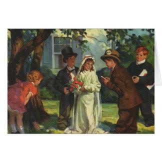 Vintage Wedding, Children Pretend Bride and Groom Card