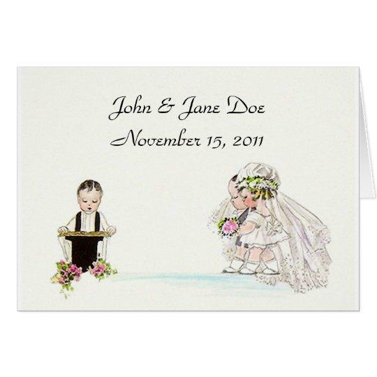 Vintage Wedding Couple Newlyweds Thank You Cards