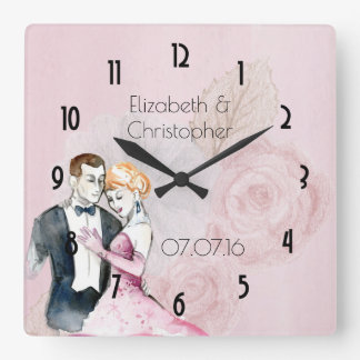 Vintage Wedding Couple On Pink Roses Personalized Wallclock