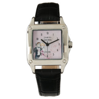 Vintage Wedding Couple With Pink Rose Personalized Watch