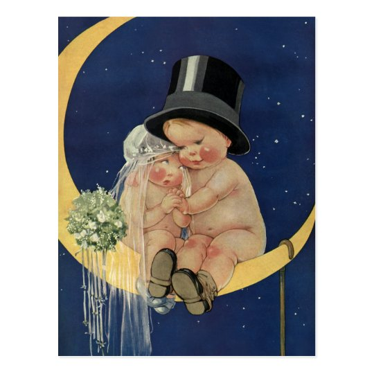 Vintage Wedding, Cute Bride and Groom on a Moon Postcard