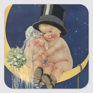 Vintage Wedding, Cute Bride and Groom on a Moon Square Sticker