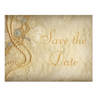 Vintage Wedding Dress Pearls Save the Date Postcard