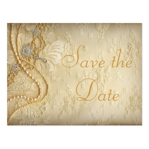 Vintage Wedding Dress Pearls Save the Date Post Cards