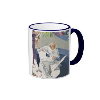 Vintage Wedding, Elegant Art Deco Retro Bride Ringer Mug