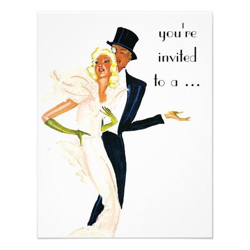 Vintage Wedding, Elegant Couple Engagement Party Custom Invites