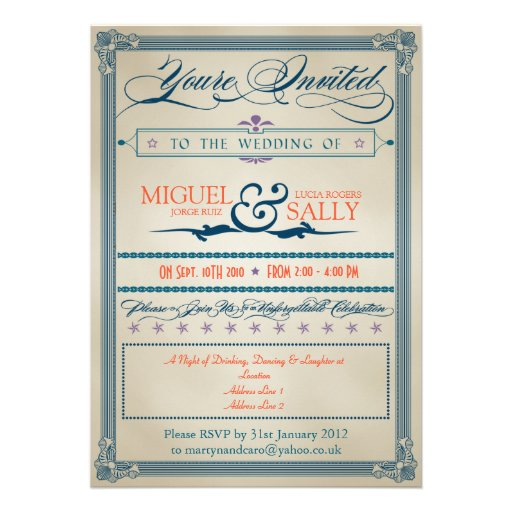 Vintage Wedding Evening-Only Custom Invite
