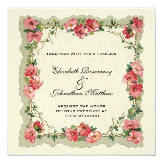 Vintage Wedding, Floral Flower Border Pink Roses 13 Cm X 13 Cm Square Invitation Card