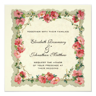Vintage Wedding, Floral Flower Border Pink Roses Card