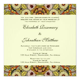 Vintage Wedding, Garden Flowers Floral Butterflies 13 Cm X 13 Cm Square Invitation Card