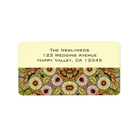 Vintage Wedding, Garden Flowers Floral Butterflies Address Label