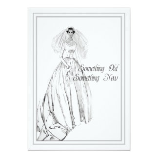 Vintage Wedding Gown Bridal Shower Something Old Card
