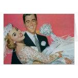 Vintage Wedding, Groom Carrying Bride, Newlyweds Greeting Cards