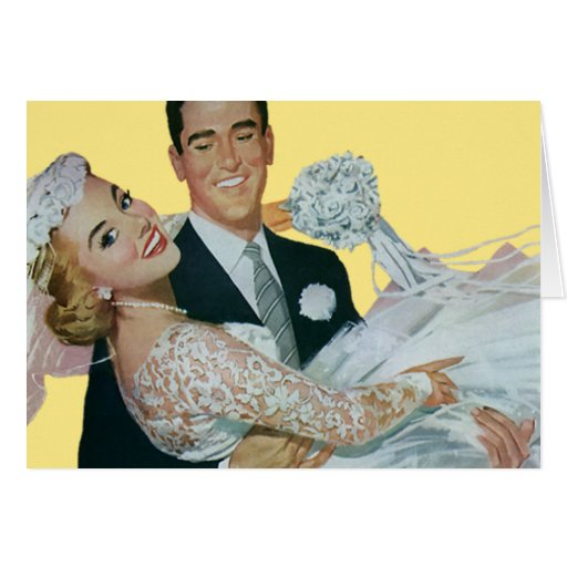 Vintage Wedding, Groom Carrying Bride, Newlyweds Greeting Card