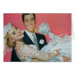 Vintage Wedding, Groom Carrying Bride, Newlyweds Stationery Note Card