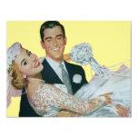 Vintage Wedding, Groom Carrying Bride, Newlyweds Custom Invitation